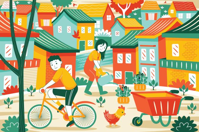 Rural Lifestyle Illustration
