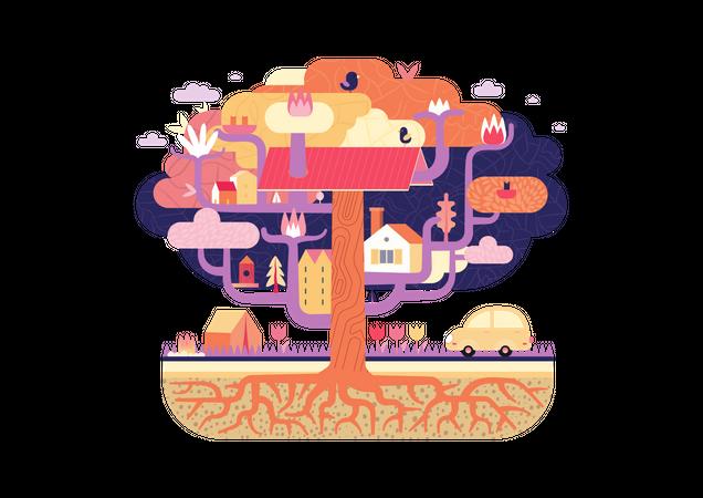 Rural Tree House Illustration