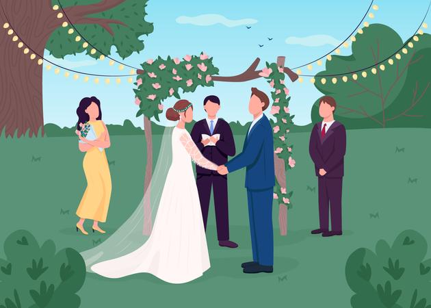 Rural wedding ceremony Illustration