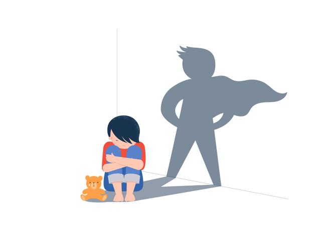 Sad Child sitting with teddybear Illustration