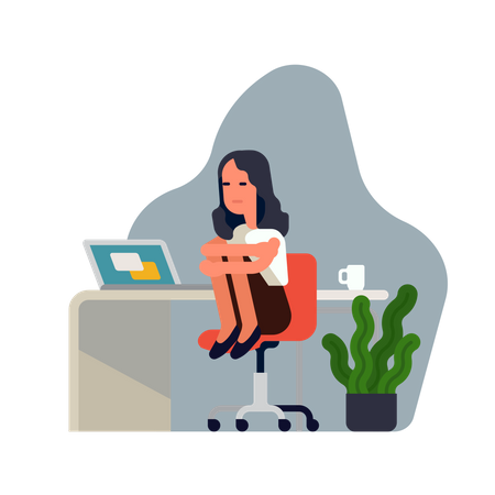 Sad depressed office worker woman at her workplace sitting on chair holding her knees Illustration