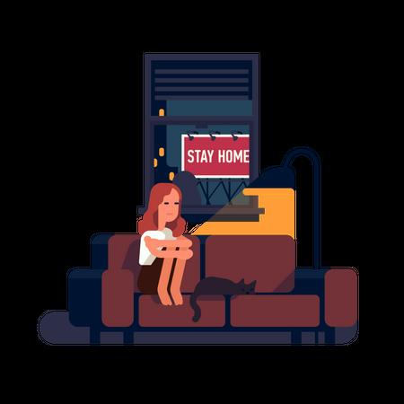 Sad depressed person stuck at home alone during coronavirus pandemic Illustration