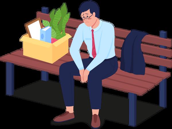 Sad fired employee sitting on bench Illustration