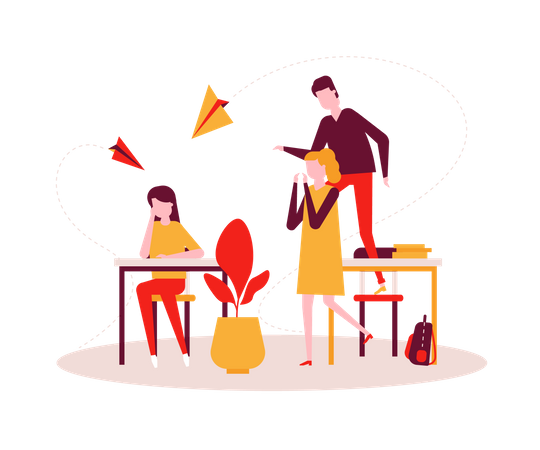 Sad girl sitting alone at the desk, teenagers, classmates mocking her, throwing paper planes Illustration