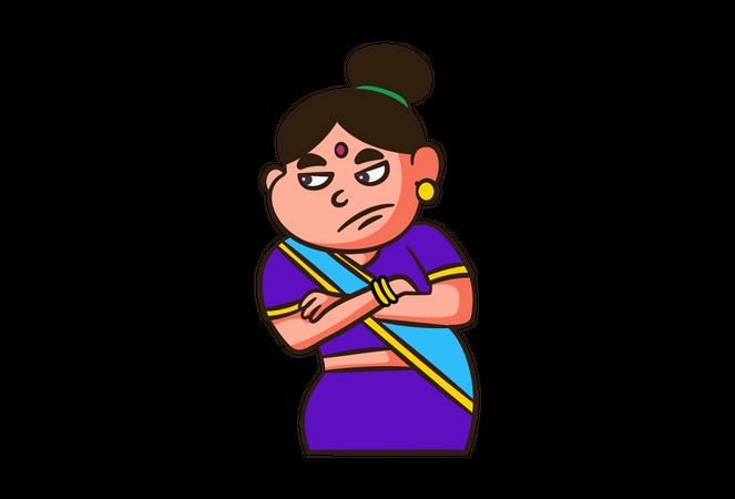 Sad Indian Woman Illustration