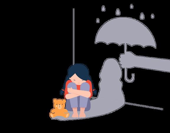 Sad little girl with teddy bear sitting on floor Illustration