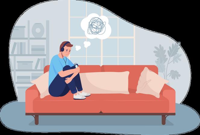 Sad lonely teen boy at home Illustration
