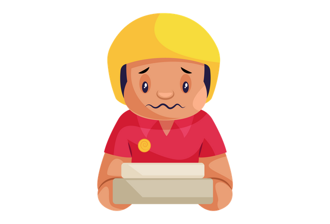 Sad Pizza Delivery Man with pizza box Illustration