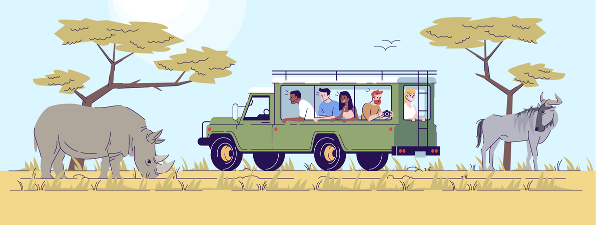 Safari tour Illustration