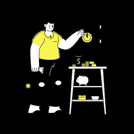 Safe money locker Illustration