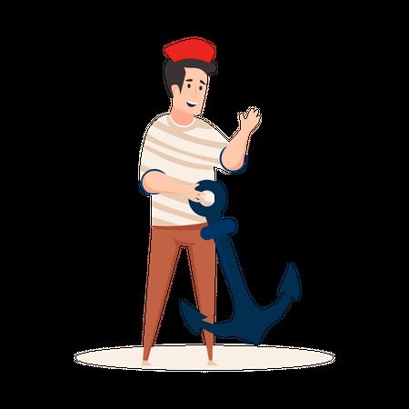 Sailor holding Anchor Illustration