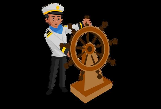 Sailor turning ship with steering wheel Illustration
