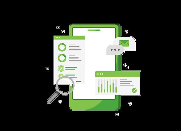 Sales analytics in phone Illustration