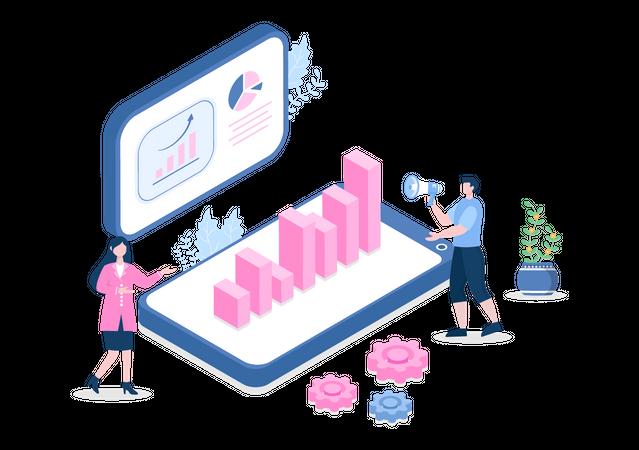 Sales data presentation Illustration