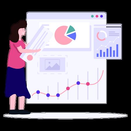 Sales executive analyzing sales growth Illustration