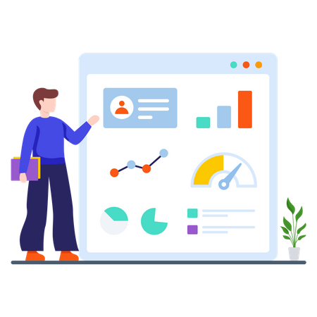 Sales executive collecting sales data Illustration