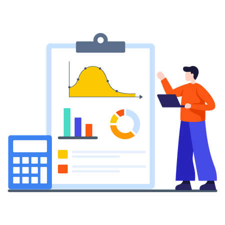Sales manager analyzing sales growth Illustration