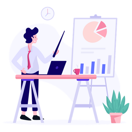 Sales manager presenting sales growth Illustration