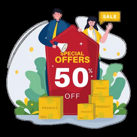 Sales offers marketing Illustration