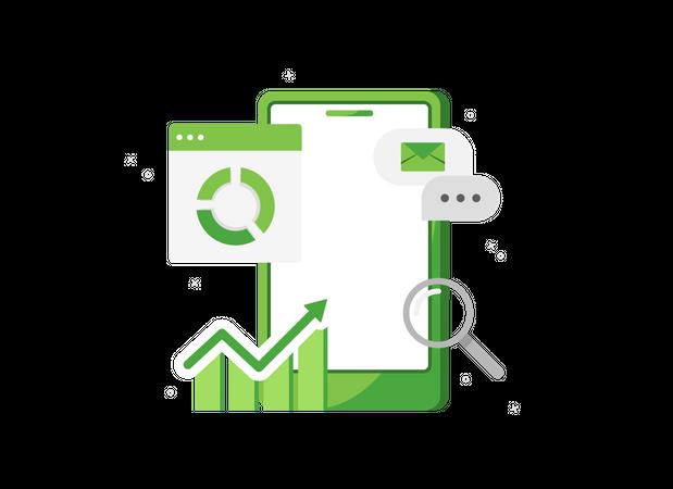 Sales report in phone Illustration