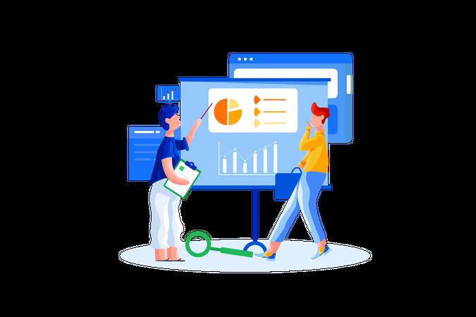 Sales team analysis sales report Illustration