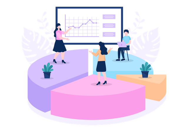 Sales Team working on sales strategy Illustration