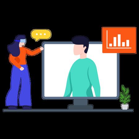Sales Video Conference Illustration