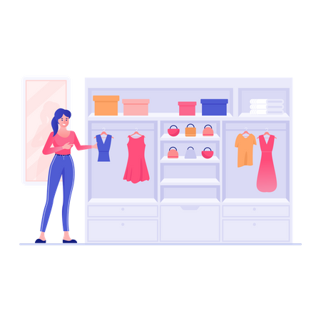 Sales woman arranging clothes in clothing store Illustration