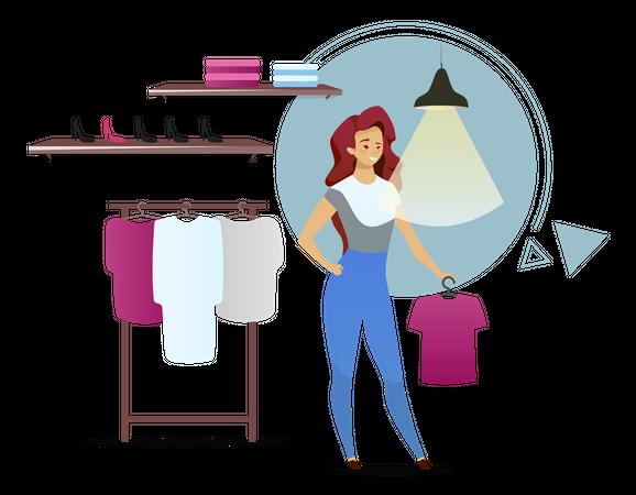 Saleswoman sales clothes Illustration