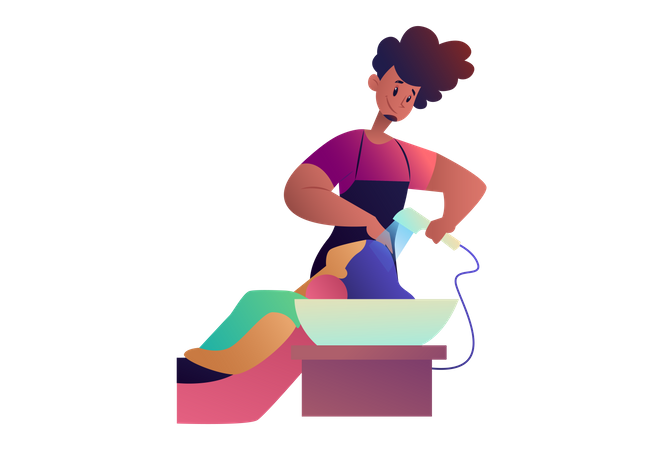 Salon Man doing hair washing of girl Illustration