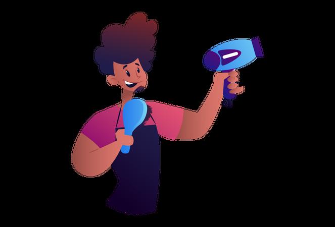 Salon Man with Hair brush and dryer Illustration