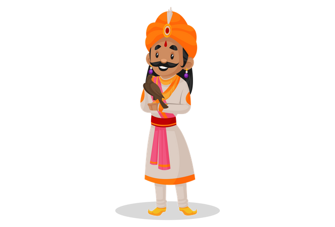 Samrat Ashok holding bird in his hand Illustration