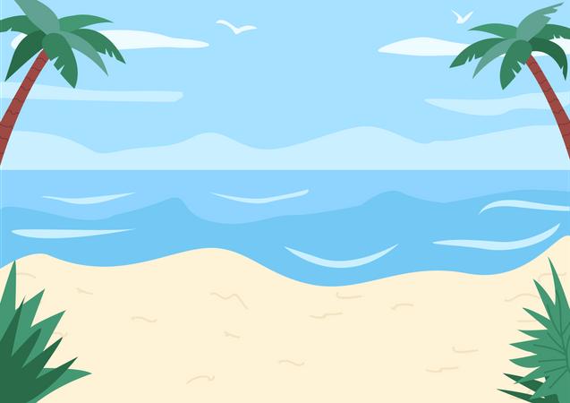Sand beach and shoreless ocean Illustration