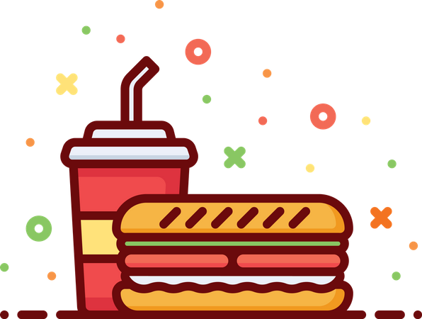 Sandwich With Drink Illustration