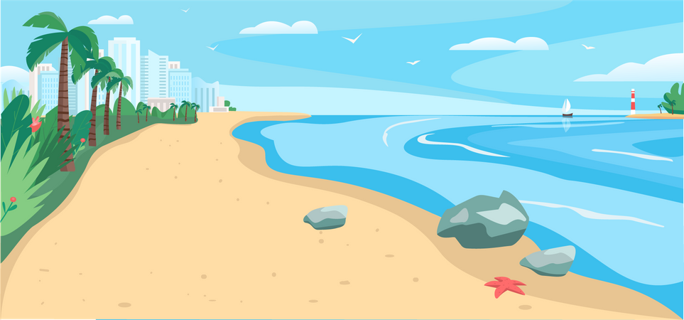 Sandy beach and sea Illustration