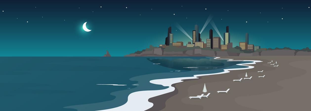 Sandy urban beach at night Illustration