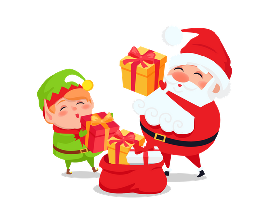 Santa and Elf with presents and gift bags Illustration