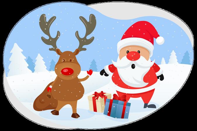 Santa and reindeer providing gifts Illustration