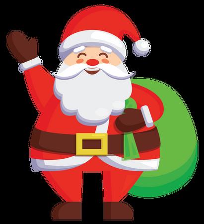 Santa carrying christmas gift bag Illustration