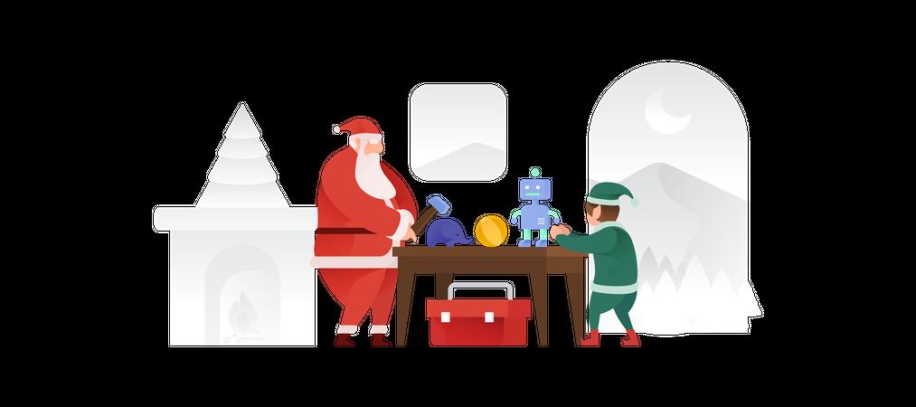 Santa Claus And His Elf Making Toys Illustration
