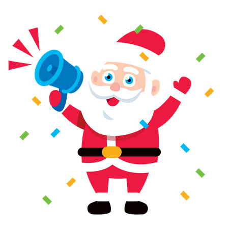 Santa Claus Announcing with megaphone Illustration