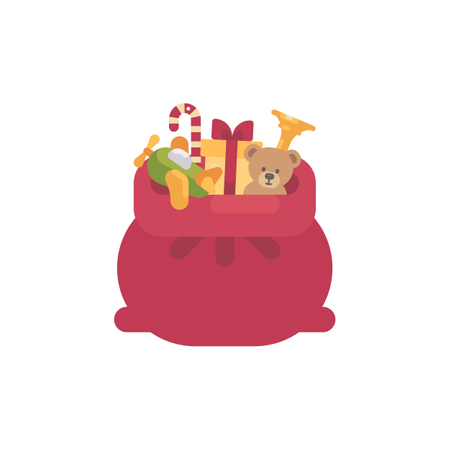 Santa Claus Bag With Presents And Toys Illustration