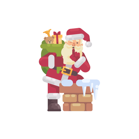 Santa Claus Climbing Into The Chimney With A Bag Of Presents Illustration