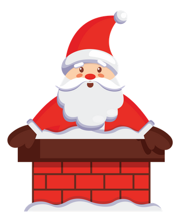 Santa claus coming out of house chimney Illustration