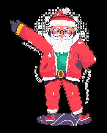 Santa Claus dancing at Christmas event Illustration