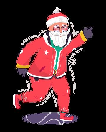 Santa Claus dancing at Christmas festival Illustration