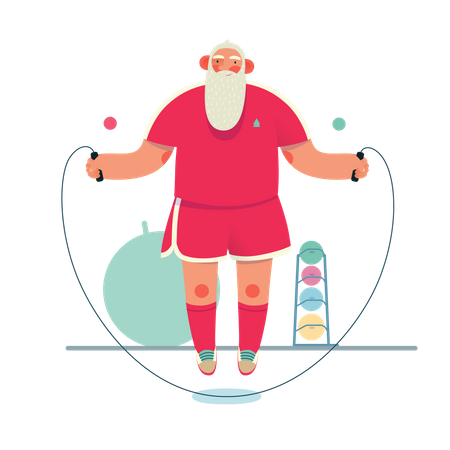 Santa claus doing rope jumping exercise Illustration