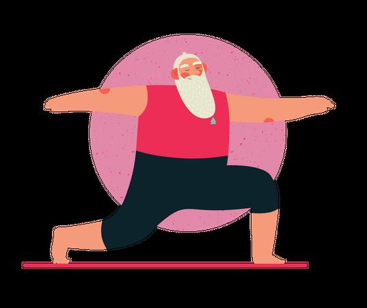 Santa Claus doing yoga Illustration