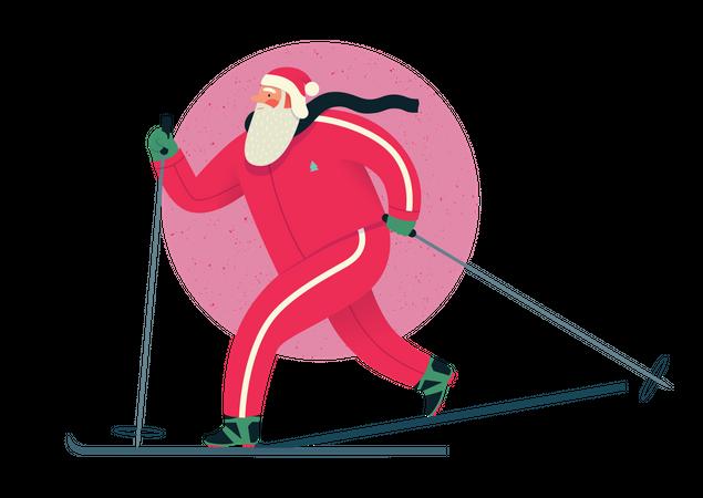 Santa claus enjoying ski Illustration