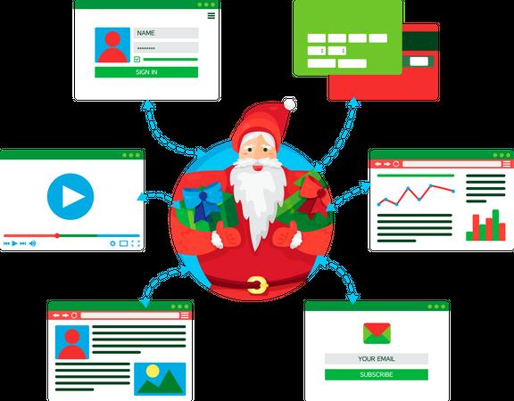 Santa Claus enjoying social life Illustration